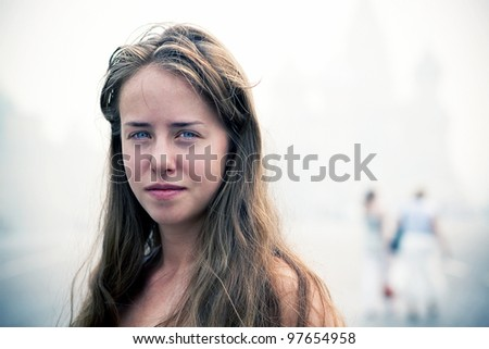 girl with long hair, a soft background