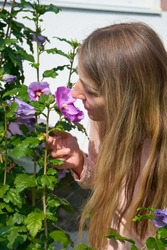 girl with long hair sniffs a flower,beautiful young woman with fluffy hair sniffs a hibiscus flower