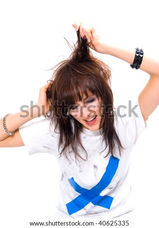 girl with messy hair and makeup crying isolated on a white background