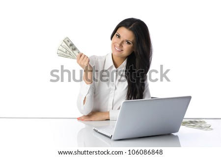 Girl with money in hand. Bills and business.