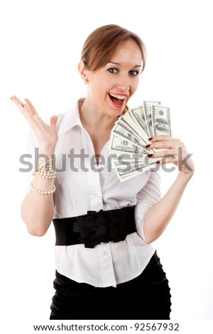 Girl with money isolated on white