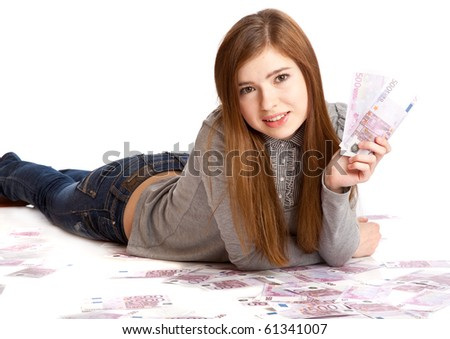 Girl with money. Isolated on white background