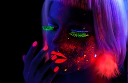 Girl with Neon Make Up