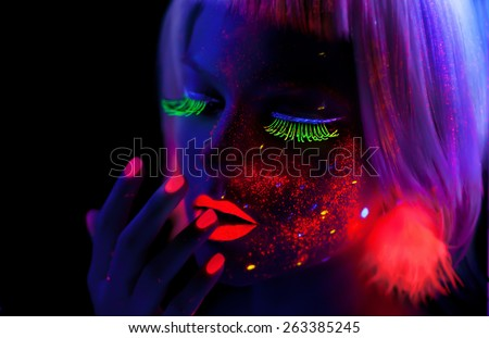 Girl with Neon Make Up #263385245