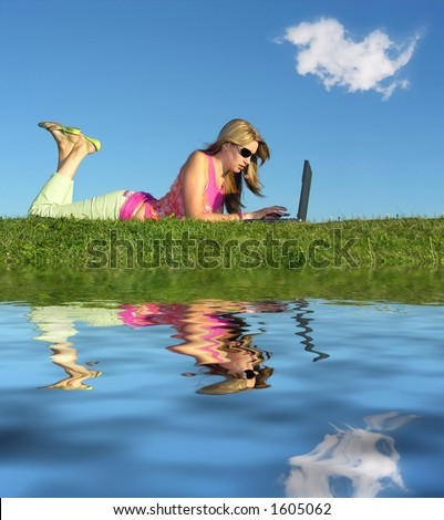 girl with notebook and water