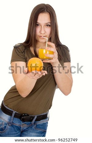 Girl with orange juice and oranges in hand isolated on white background