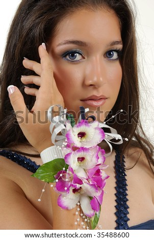Girl with orchid corsage