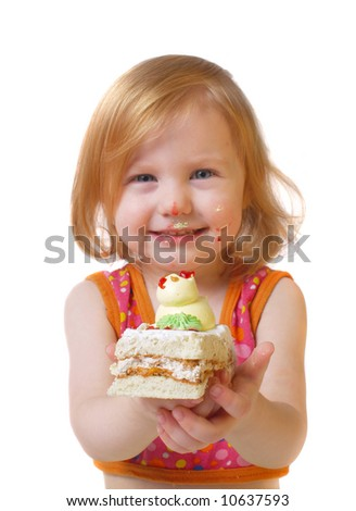 girl with pastry  isolated on white - stock photo