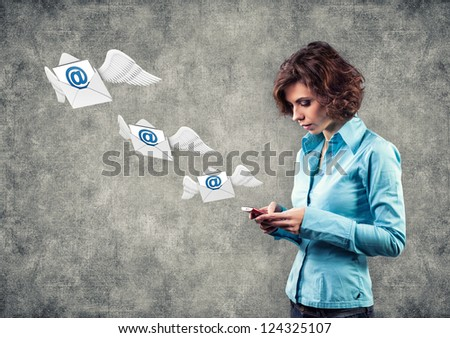 Girl with phone and letters flying on wings