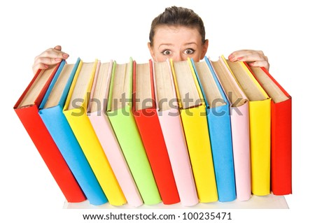 Girl with pile book. Isolated over white