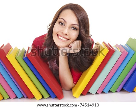 Girl with pile color book . Isolated.