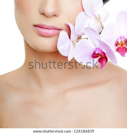 girl with pink orchid
