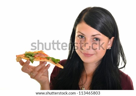 girl with pizza isolated on white