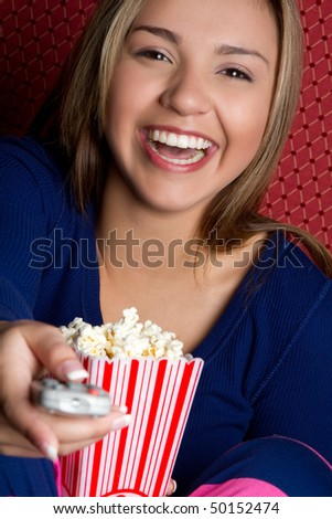 Girl with Popcorn - stock photo