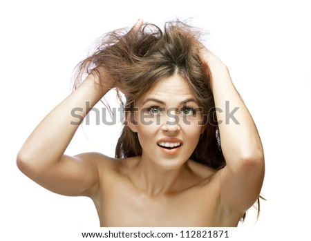 girl with problems of her hair