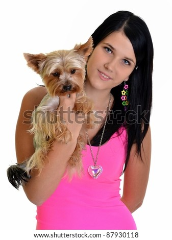 girl with puppy yorkie