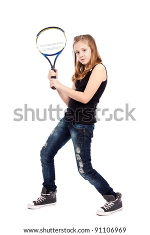 Girl with racket playing tennis isolated on white background