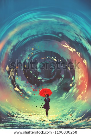 Stock Photo girl with red umbrella makes a swirling water in the sky, digital art style, illustration painting
