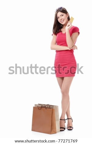 Girl with shopping bags and credit card on a white background