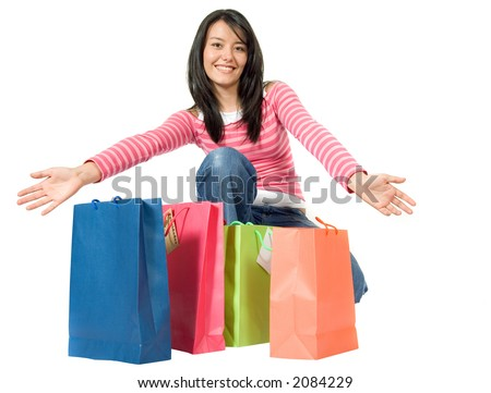 girl with shopping bags over a white background