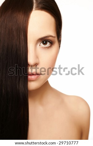 girl with silky hair on a white background