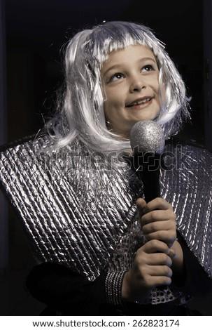 Girl with singer custom at purim
