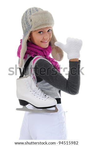 Girl with skates. Isolated on white background