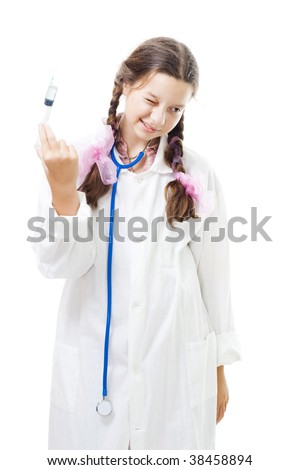 Girl with syringe afraid to make injection, standing isolated on white