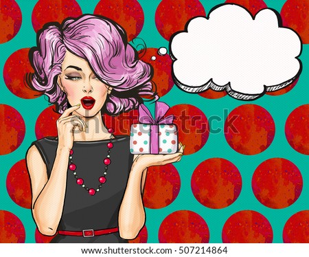 Girl with the gift in vintage style. Pop Art girl. Party invitation.Thinking woman. strip, face, cute, smile, cool, poster, lips, love, bubble, fashion, pin up, birthday, speak, invitation, retro, wow