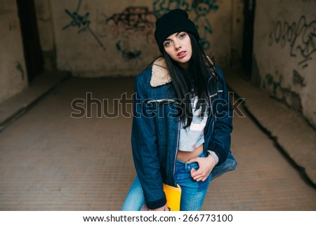Girl with the skateboard