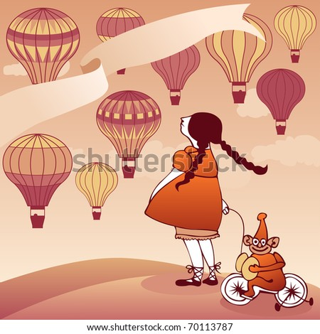 girl with toy monkey watching hot air balloons - vector also available, id: 68169817