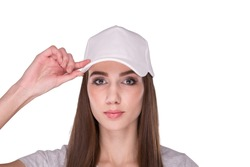 girl with white cap isolated on white background