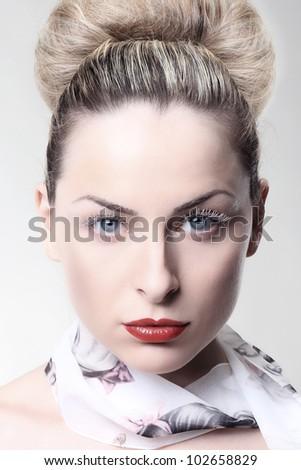 Girl with white eyelashes