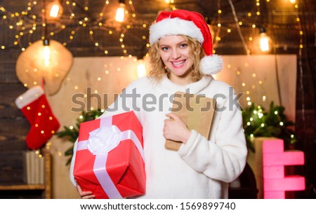 girl with xmas gift box. Party invitation. christmas sales. Letter to santa. girl write greetings. Best presents. happy new year. delivery christmas present. winter holidays. Wish list. Greeting card. #1569899740