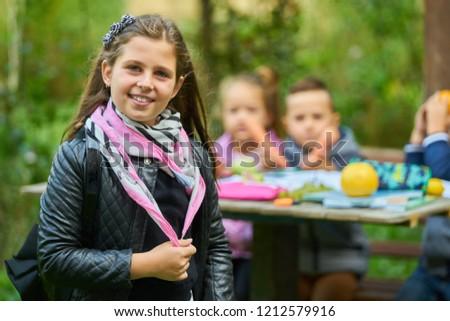 Girl work homework in nature #1212579916