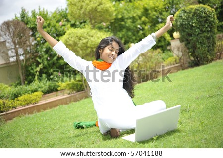girl working on laptop enjoying freedom