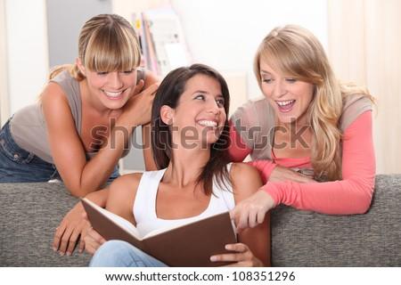 girlfriends having fun at home