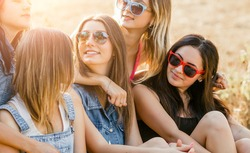 Girlfriends having fun outdoor together