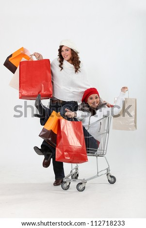 girlfriends shopping at the mall