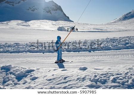 girlie skiing on the glacier