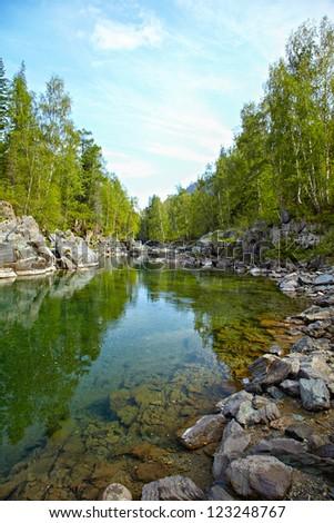 Girlish Reaches of mountain Altai river  Kumir