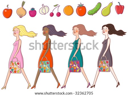 Girls are going from the vegetable shop - cartoon set