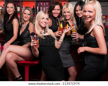 image White woman having fun with black men