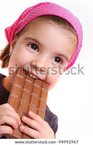 Girls eat chocolate - stock photo