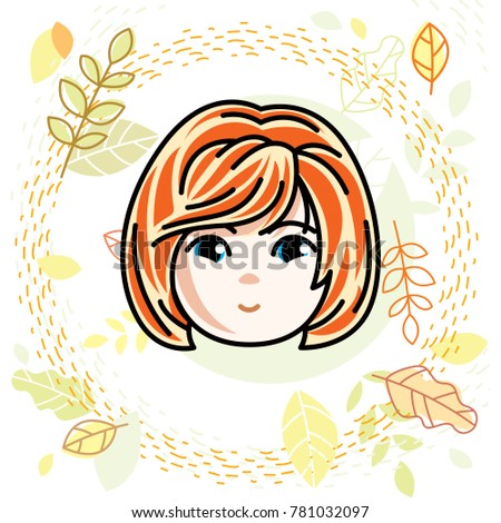 Girls face, human head. character, beautiful red-haired teenager with stylish haircut.