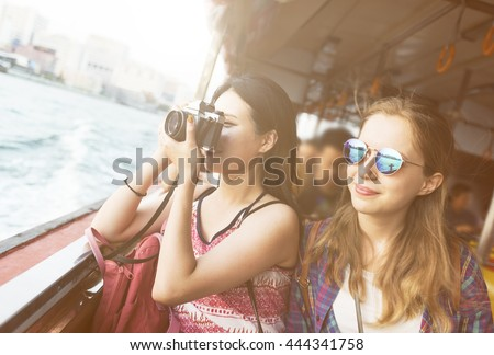 Girls Friendship Hangout Traveling Holiday Photography Concept #444341758