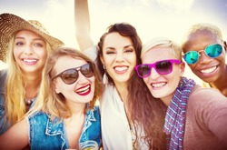 Girls Friendship Smiling Summer Vacations Together Concept