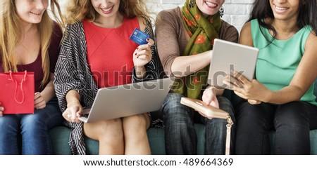 Girls Friendship Togetherness Online Shopping Concept