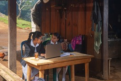 Girls from the rural area receive classes outside their home to distance.