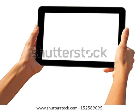 girls hands holding a tablet touch computer gadget with isolated screen